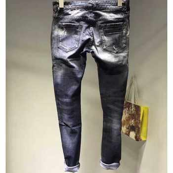 New Slim Stretch Ripped Jeans For Women Elasticity Mid Waist Jeans Casual Women Pencil Denim Pants Jeans black Hole Jeans