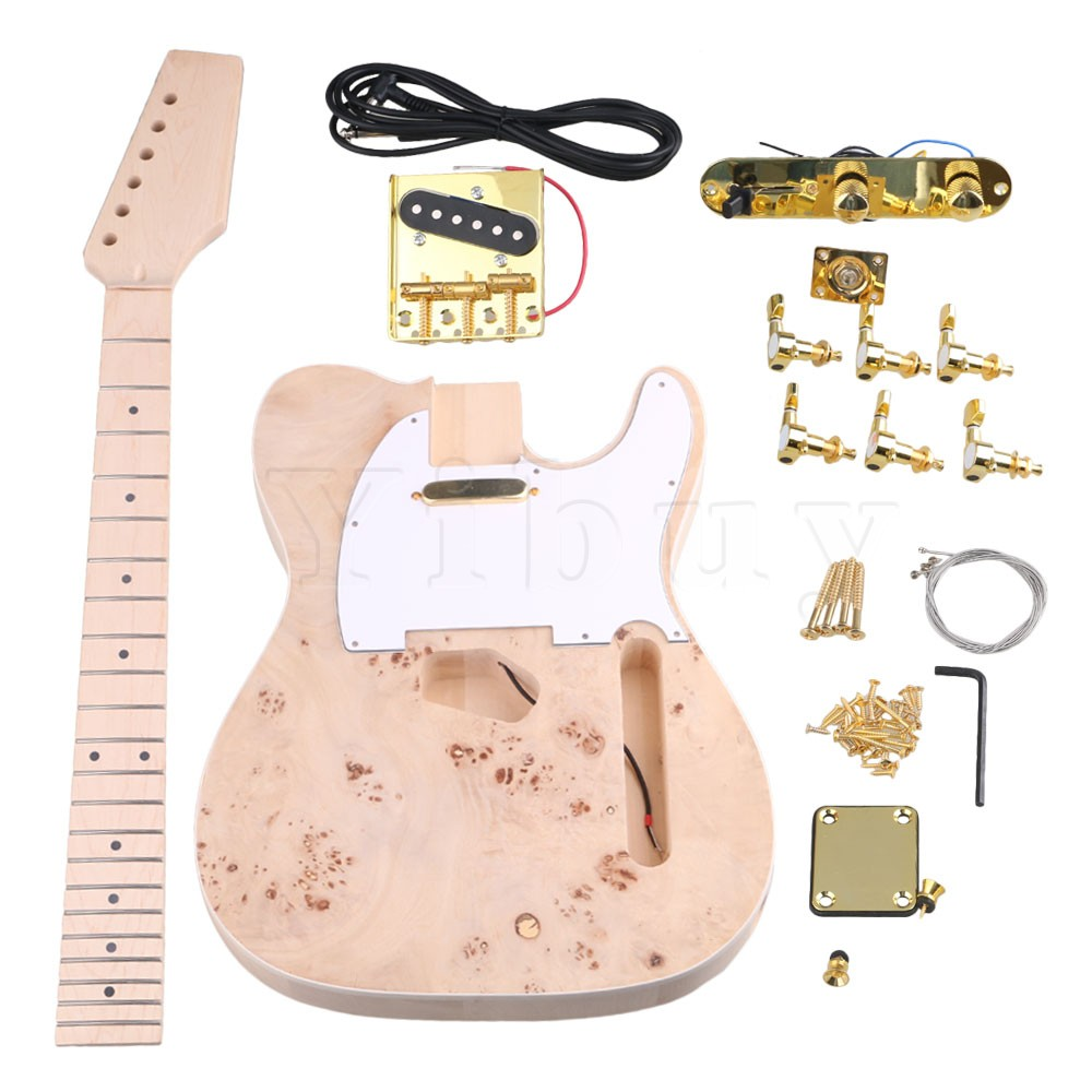 Yibuy  Maple 2 Single Coil Pickup 21/22F Electric Guitars DIY Builder Kit With All Accessories belcat bass pickup 5 string humbucker double coil pickup guitar parts accessories black