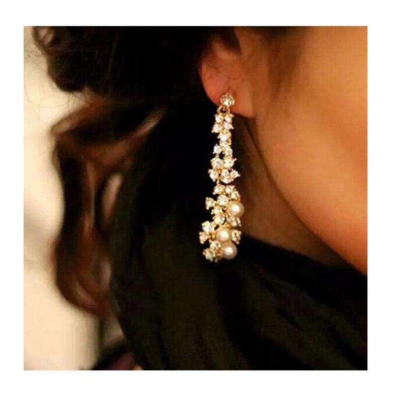 Trendy Female Evening Pearl Jewelery Brincos Full Crystal Gold Long Earrings For Women
