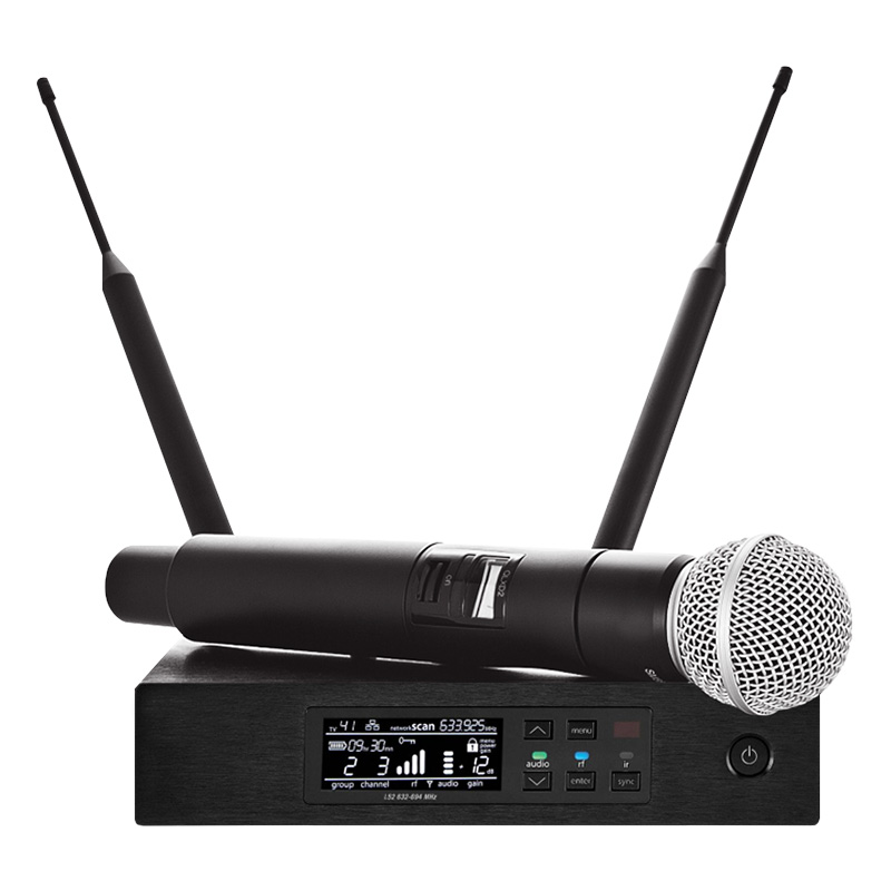 Wireless Microphones Long-Range True Diversity UHF Professional Wireless Microphone System QLXD4 Wireless MIC Stage Performance ugx88 professional one to four wireless microphone professional stage performance meeting the sound box condenser microphone
