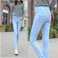 Nueva Marca Primavera Verano Mujer de La Alta Cintura Skinny Jeans Push Up Mujeres Solo Pecho Elástico Delgado Lápiz Pantalones de Mezclilla