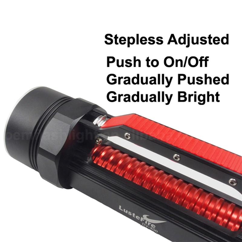 LusteFire DV400 6 x Cree XM L2 Wit/Neutraal Wit 5000 Lumen Traploos Aangepast LED Duiken Zaklamp Zwart (2x32650) - 3