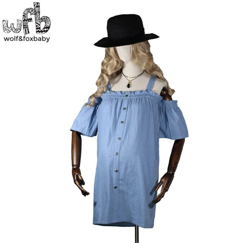 Retail Pregnant women Large size dress denim short sleeve Slim Fit Strapless shoulderless casual dress summer