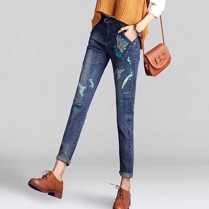 2017 Spring and Autumn Embroidered Jeans Women Loose large size Female trousers casual Student pencil pants