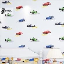 Нетканые Мальчики Обои Современный Мультфильм Автомобиль Дети Спальне Обои Ролл Синий Кремово-белый Бежевый