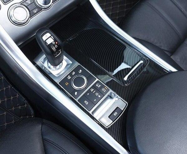 Carbon Fiber Style ABS Plastic Car Center Console Panel Cover Trim Parts For Landrover Range Rover Sport 2014 2017 Car Accessory