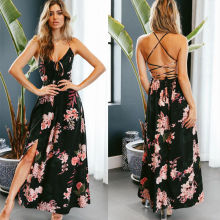 цена на Women V Neck Spaghetti Straps Floral Printed Dresses Lace up Backless Slit Side Long Maxi Dress