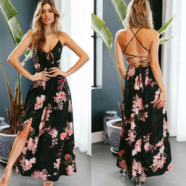 684cea5e306b Aliexpress.com : Buy Women V Neck Spaghetti Straps Floral Printed Dresses  Lace up Backless Slit Side Long Maxi Dress from Reliable Dresses suppliers  on ...