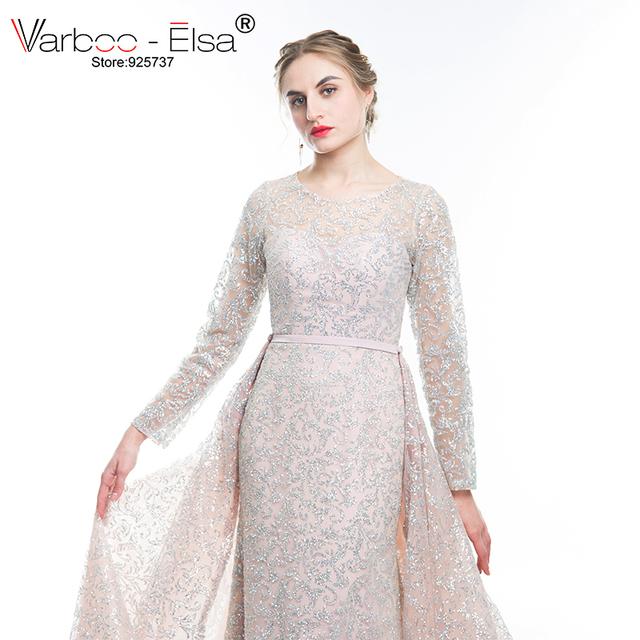 VARBOO_ELSA New Arrive Glitter Sequins Evening Dress Long Detachable Train Party Gown Long Sleeve Muslim Prom Dress Arabic