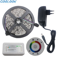 RGB LED Strip Light Suitable for the kitchen living room IP65 Waterproof LED Flexible Tape+Touch Remote Controller+Power adapter
