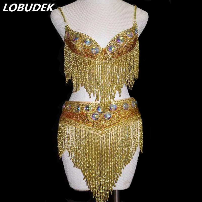 Argent or cristaux glands Bikini brillant femme costumes Bar danseuse Performance tenues de bal modèle spectacle Catwalk star scène
