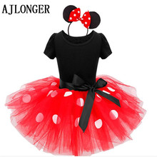 AJLONGER Girls Dress Bow Lace Dress Children Wedding Party Dresses Kids Dance Baby Clothes For Girl