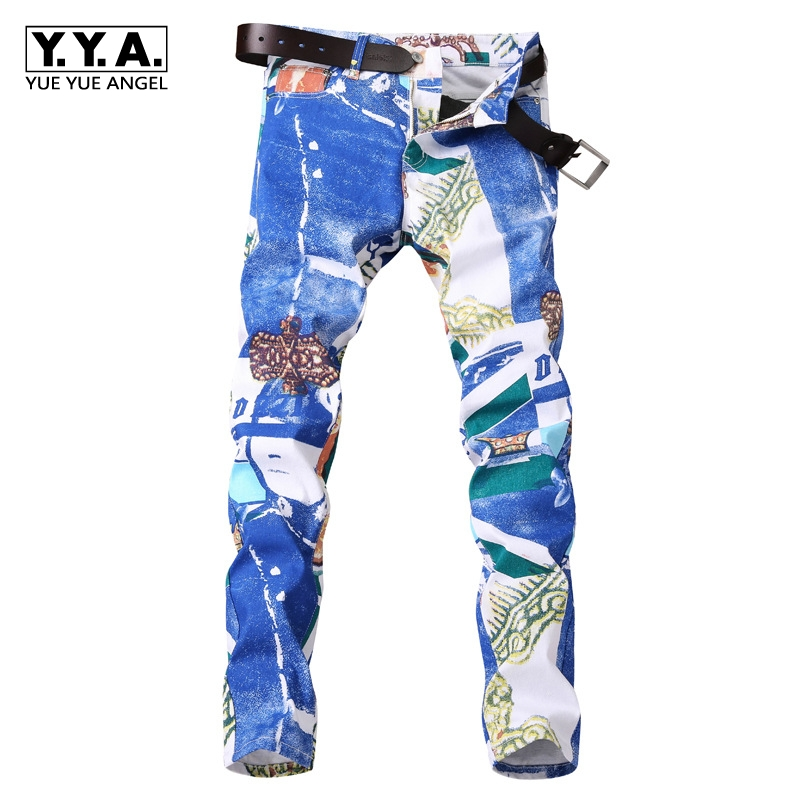 Hot Sale Autumn Winter New European Fashion White Print Mens   Jeans   Straight Brand Male Long Pants Denim Casual Trousers Big Size