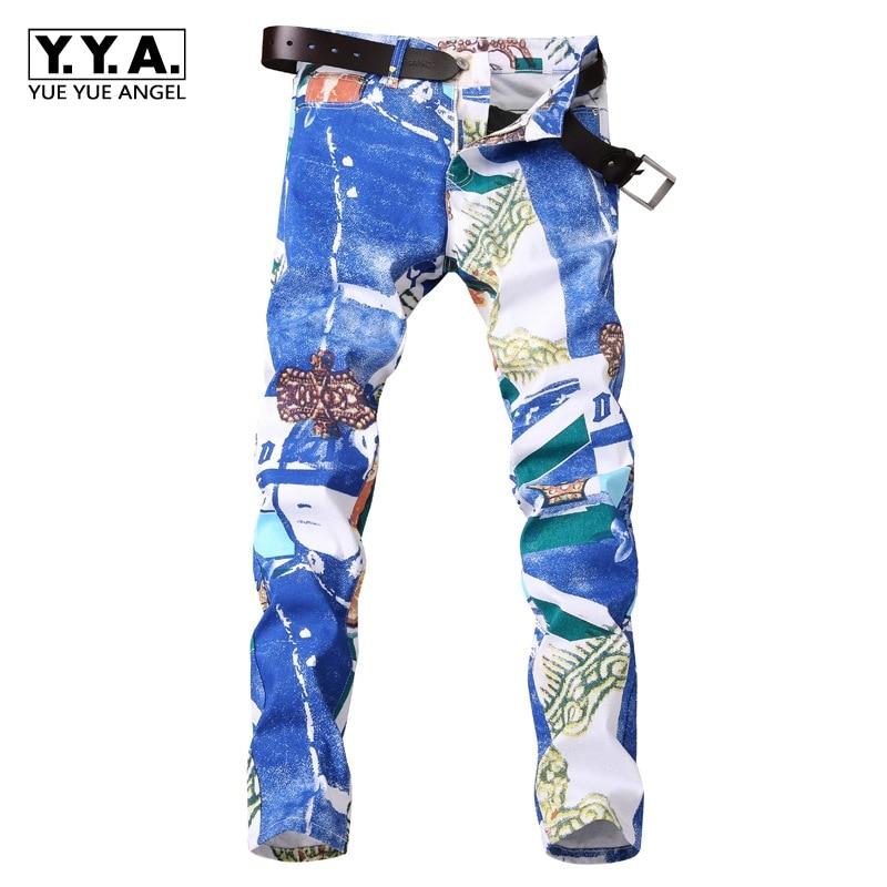 Offre spéciale automne hiver nouvelle mode européenne impression blanche hommes Jeans marque droite homme Long pantalon Denim pantalon décontracté grande taille