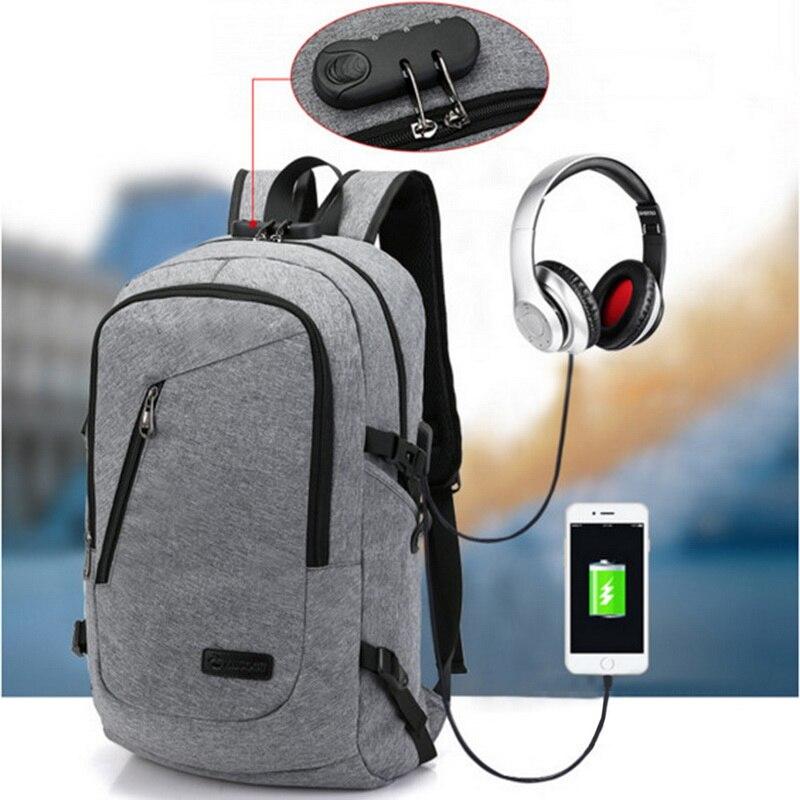 NIBESSER antirrobo negocio portátil Mochila con puerto de carga USB Viaje Unisex Mochila escolar Mochila inteligente Backbag