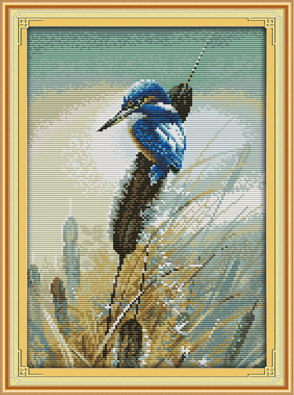 River and kingfisher Printed on Canvas DMC Counted Chinese Cross Stitch Kits printed Cro ...