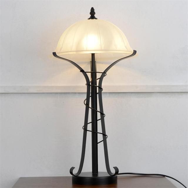 Modern Living Room Table Lamps Glass Shade Bedroom Beside Reading Light Black Iron Crystal Art E