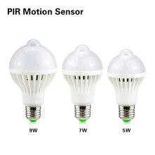 1PCS LED PIR Motion Sensor Bulb Light 5W 7W 9W E27 220V Auto Smart IC Control OFF/ON Led Lamp For Aisle Stairs Balcony Lighting
