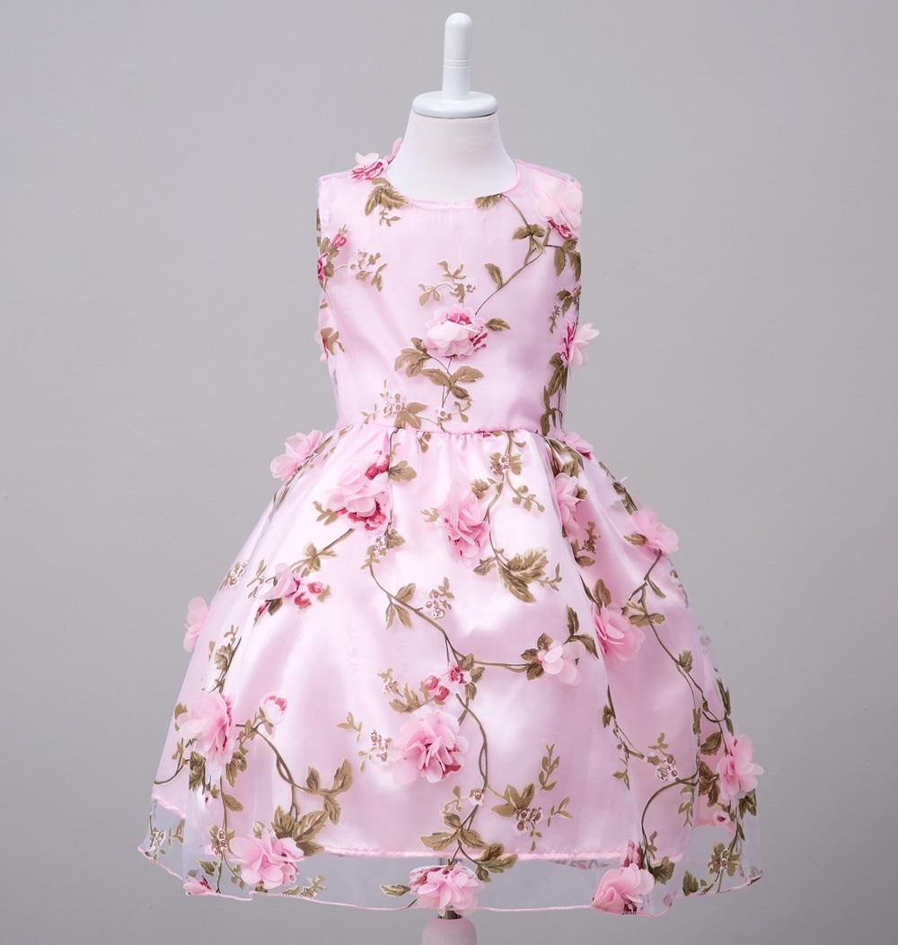 2017 nouveau enfants fille été classique 3d fleurs robe filles enfants en mousseline de soie sans manches fête anniversaire robes Vestidos livraison gratuite