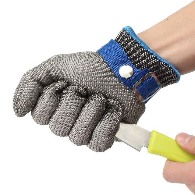 5d82a3893c915 Tamanho S de Segurança Cut Prova Stab Resistente Luva De Malha De Metal Fio  de Aço