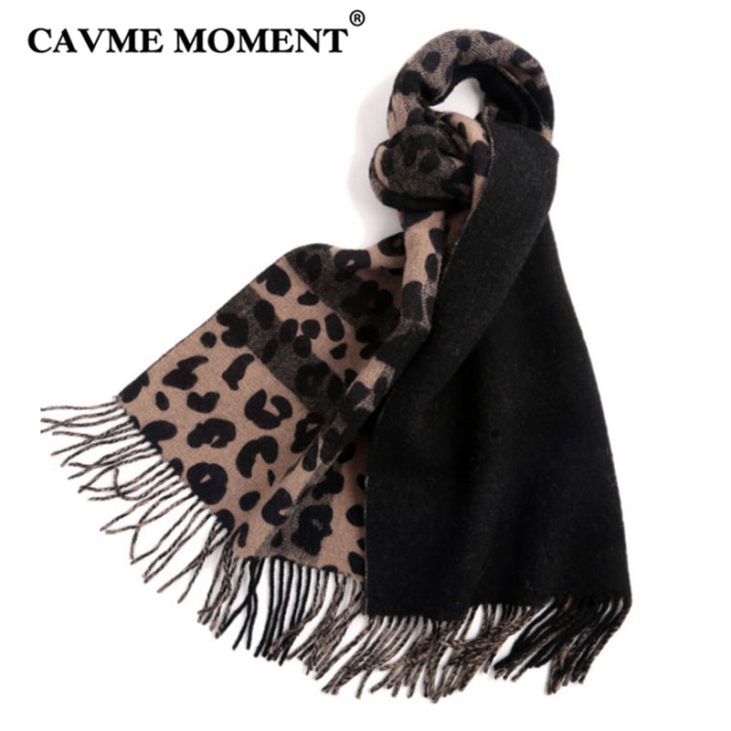 CAVME 100% Wool Leopard   Scarf   Women Long   Scarves   for Ladies 2018 Fashion Winter   Scarf     Wraps   Shawls 50*200cm 240g