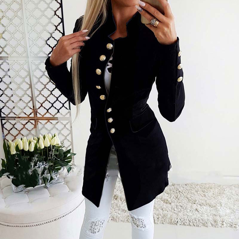 2019 Autumn Winter Long Blazer Women Button Blazer Suit Women Casual Long Jackets Elegant Long Sleeve Blazer Outerwear(China)