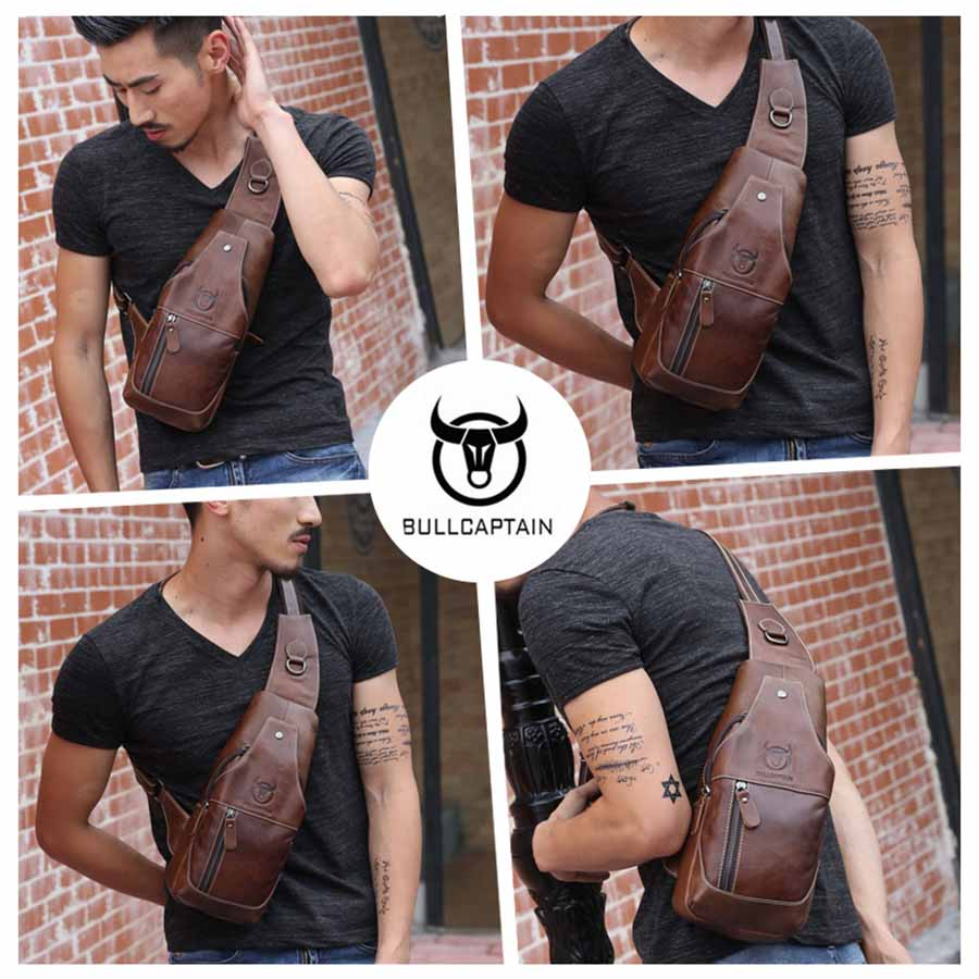 Image 3 - BULLCAPTAIN 019 Genuine Leather Bag Men Chest Pack Travel Brand 