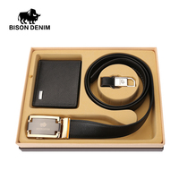 BISON DENIM Christmas Gift 3 Pieces Set Belt Wallet Keychain Genuine Leather Automatic Buckle Belt And