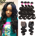 10A Grade Malaysian Virgin Hair with Closure Queen Hair Products with Closure Bundle Malaysian Body Wave 4 Bundles with Closure