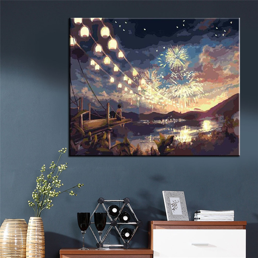 WEEN DIY Pictures Painting By Nummber DIY Fireworks Wall Oil Canvas Art Coloring By Number Digital Quadros De Parede Sala Estar in Painting Calligraphy from Home Garden