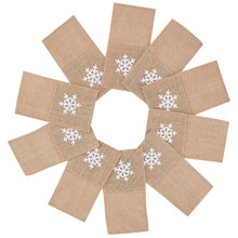 Christmas Burlap Cutlery Pouch Xmas Knife Folk Napkin Holders with White Snowflake for Wedding Party Bridal Sho