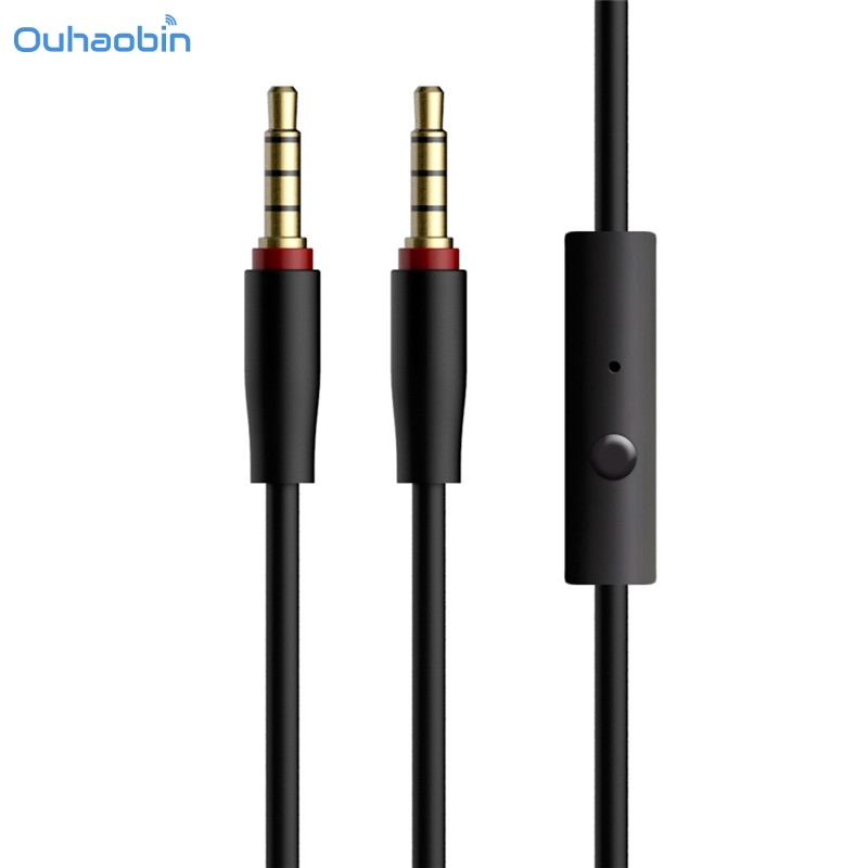 RED 3.5MM AUX AUXILIARY STEREO AUDIO CABLE CORD W// INLINE MIC FOR IPOD PC MP3