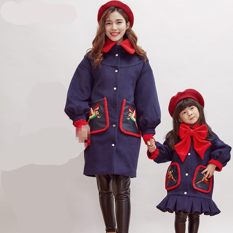 купить Maggie's Walker girls and mother autumn and winter wool England style coat 2017 new family fashion tide thickened quilted coat дешево