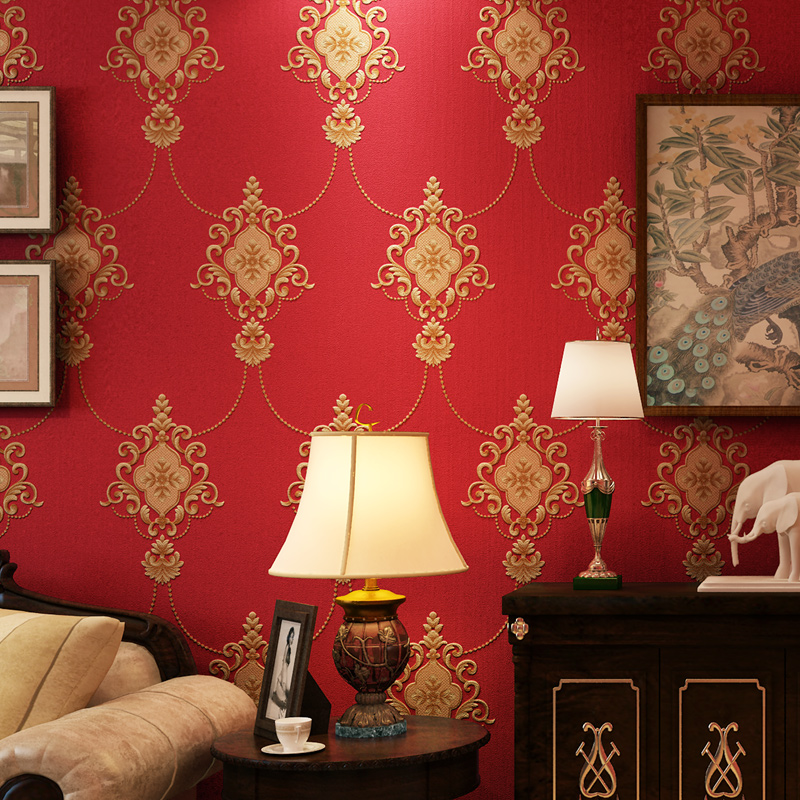 American Deep Embossed Big Flower Red Damascus Wallpaper 3d Living Room TV Background Wall Bedroom Porch Wall Paper RollAmerican Deep Embossed Big Flower Red Damascus Wallpaper 3d Living Room TV Background Wall Bedroom Porch Wall Paper Roll