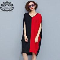 נשים קיץ החולצה בתוספת גודל V-צוואר כותנה מקרית & Tees שחור אדום פסים טלאים נשיים אופנה עטלף שרוול חולצת טי