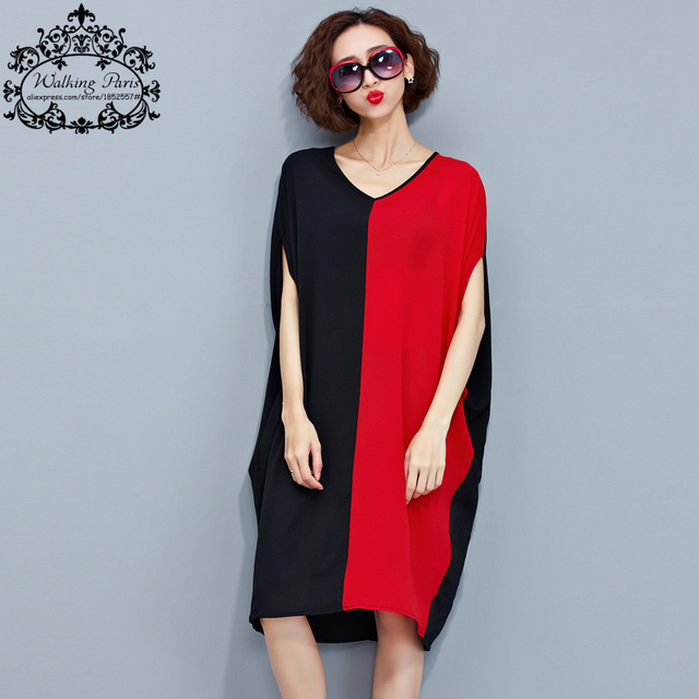 Women Summer T-Shirt Plus Size V-Neck Cotton Casual Tops&Tees Black Red Striped Female Patchwork Fashion Batwing Sleeve TShirt