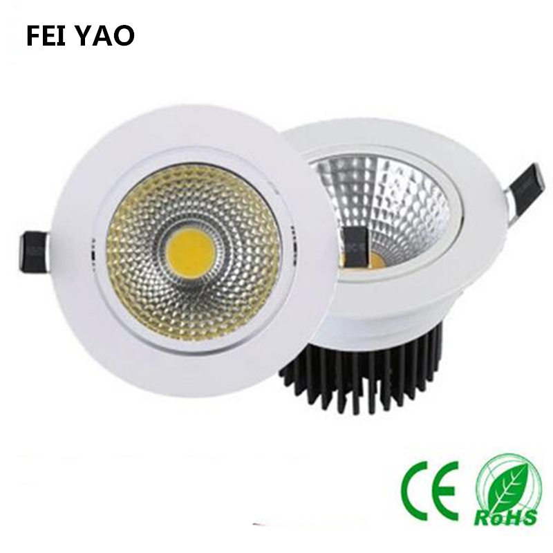 LED Downlight Dimmable COB Ceiling light 85-265AC 3W/5W/7W/9W/12W LED Bedroom Kitchen Indoor Lamp Warm/white LED Spot Lighting mi light 2 4g 1pcs lot 12w led downlight remote rf control wireless bulb lamp white warm white down light 85 265v