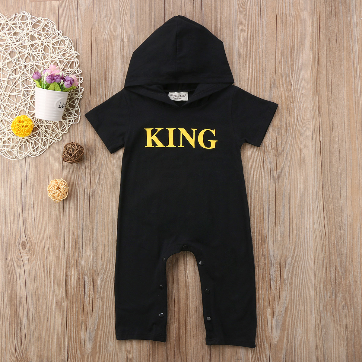 New Newborn Baby Kid Boys Girls Infant King Letter Rompers Jumpsuit Playsuit Hooded Short Long Sleeve Outfit Set