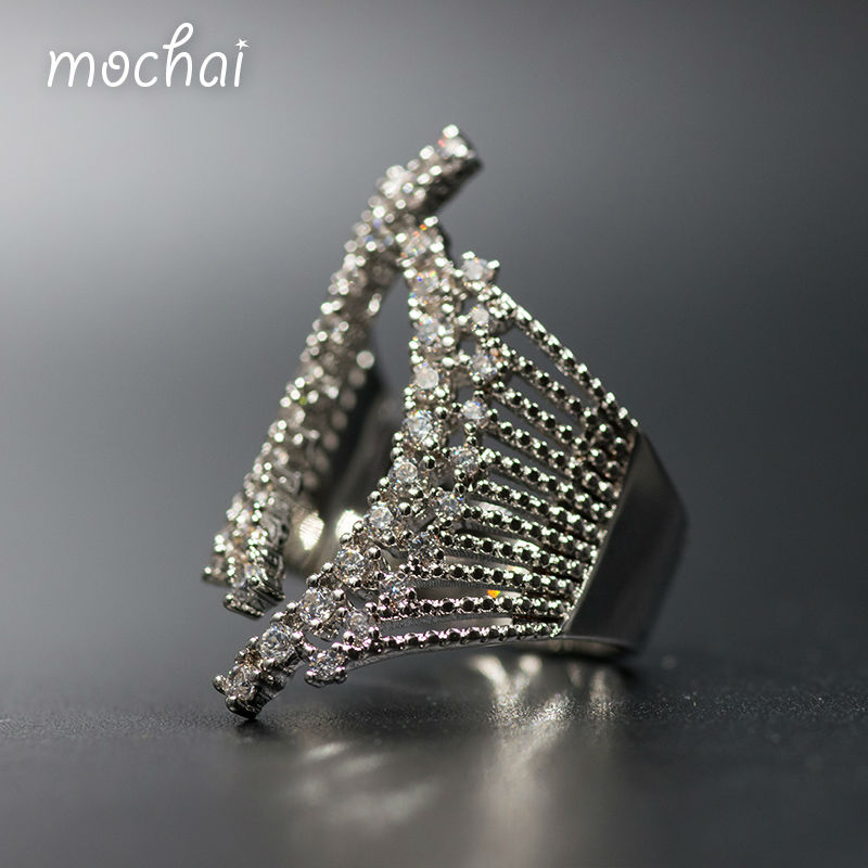 Mocai Fashion Gold Luxury Full Cubic Zirconia Cuff Finger Rings Famous Brand Pave Setting Curve