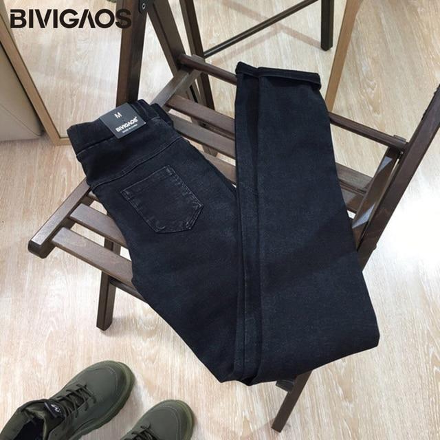 BIVIGAOS Women Jeans Leggings Casual Fashion Skinny Slim Washed Jeggings Thin High Elastic Denim Legging Pencil Pants For Women 6