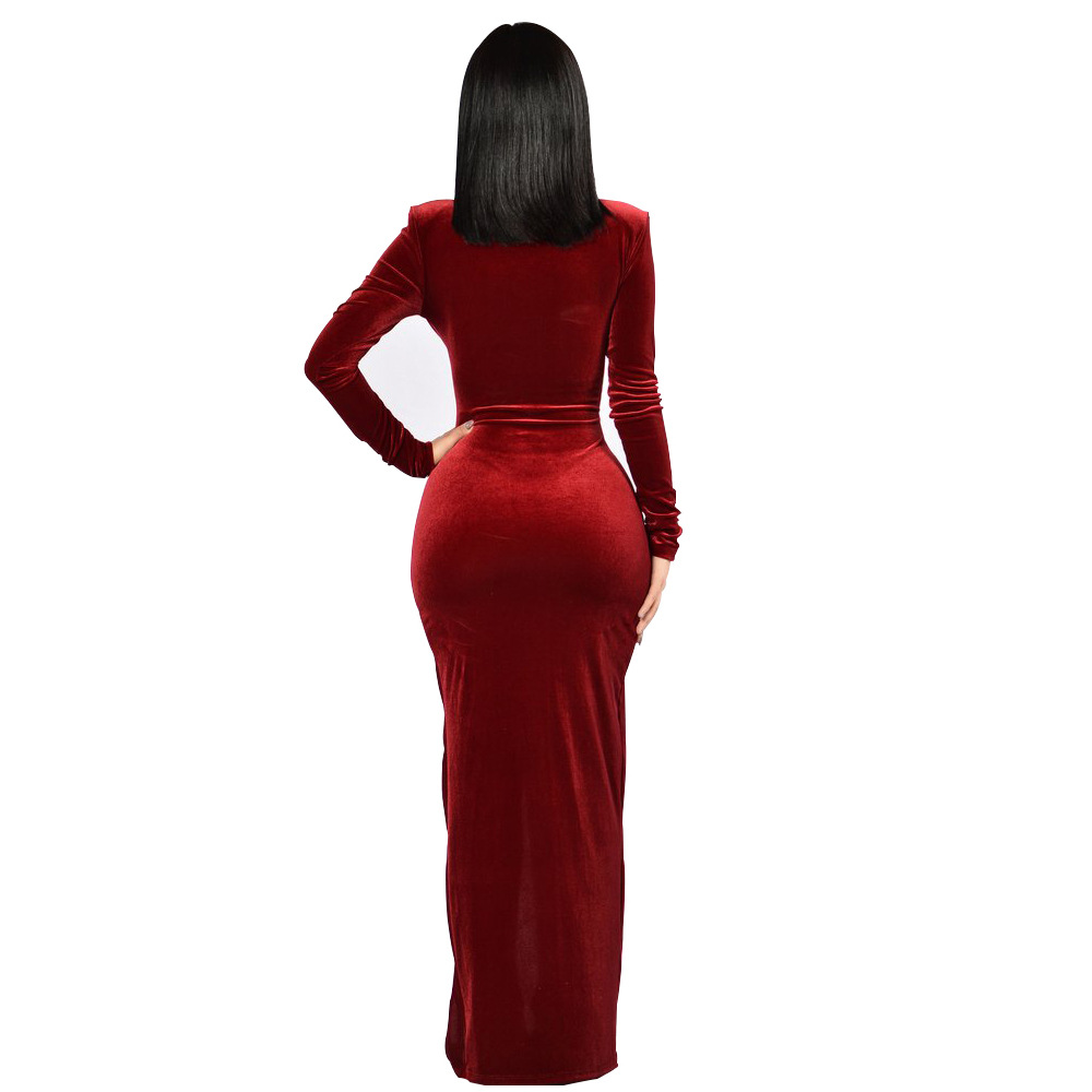 2019 High Quality Velvet Christmas Dress Sexy V Neck Warm Full Sleeve Bodycon Dress Side Slit Solid Color Fashion Party Dress