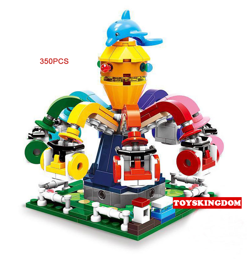 Hot city funland mini Octopus Amusement Park moc building block model bricks toys collection for children gifts hot funland merry go round building block with motor figures whirligig bricks 10196 model electric toys collection for kids gfit
