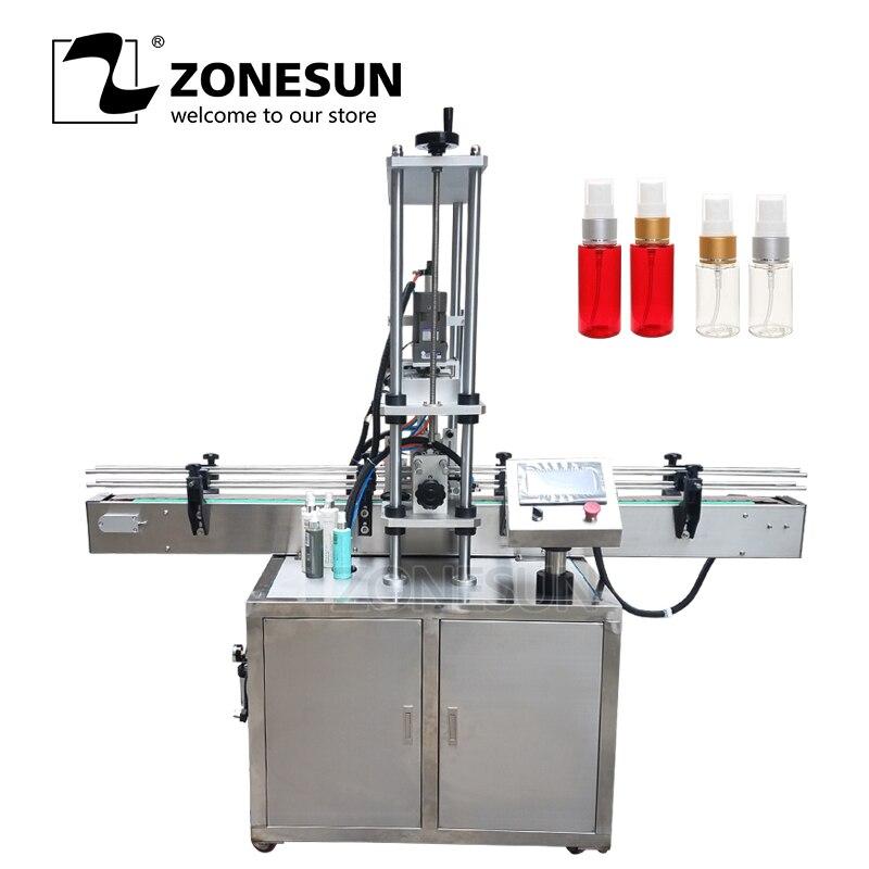 ZONESUN automático de tornillo eléctrico botella de plástico de vidrio de agua jugo de miel pequeño gotero de lavado bolsa de tapado máquina