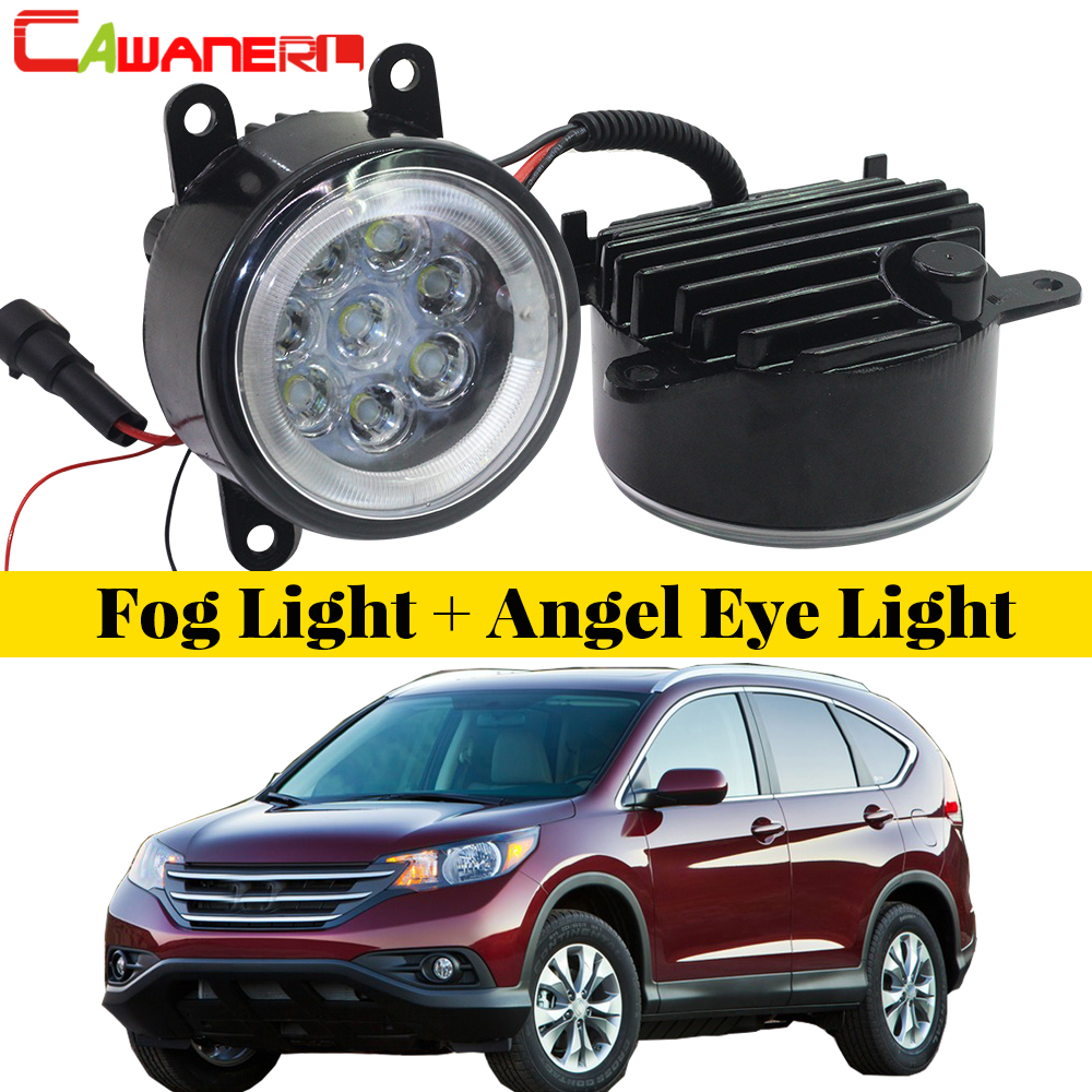 Cawanerl For 2012 2013 2014 Honda CR-V CRV 2.4L L4 Car LED Fog Light Lamp Angel Eye DRL Daytime Running Light 12V Accessories led front fog lights for honda cr v pilot 2012 2013 2014 car styling round bumper drl daytime running driving fog lamps