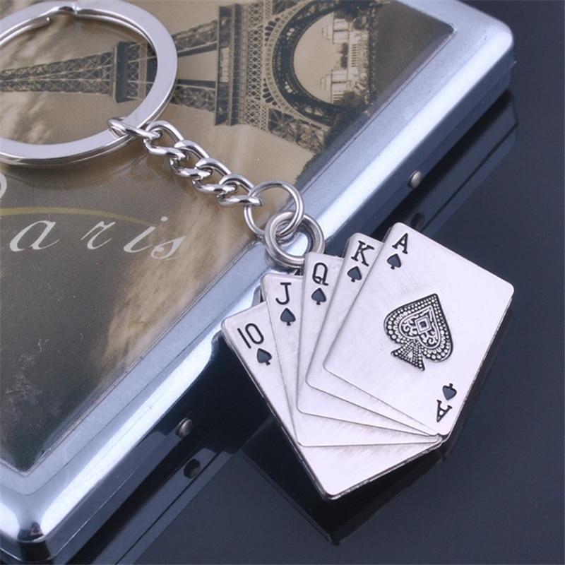 Fashion Lover Gift Alloy Poker Key Chain 3Pcs/Lot Poker Men Key Chains Personalized Key Ring Jewelry Best Friend Key Chain