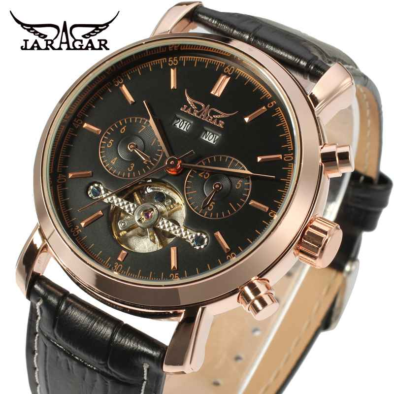 Top Brand JARAGAR Business Series Automatic Uhr Male Tourbillion Design Men Watches Luxury Mechanical Casual Leather Wristwatch jaragar top brand tourbillon automatic mechanical diamond dial clock wtaches men classic luxury business leather wristwatch uhr