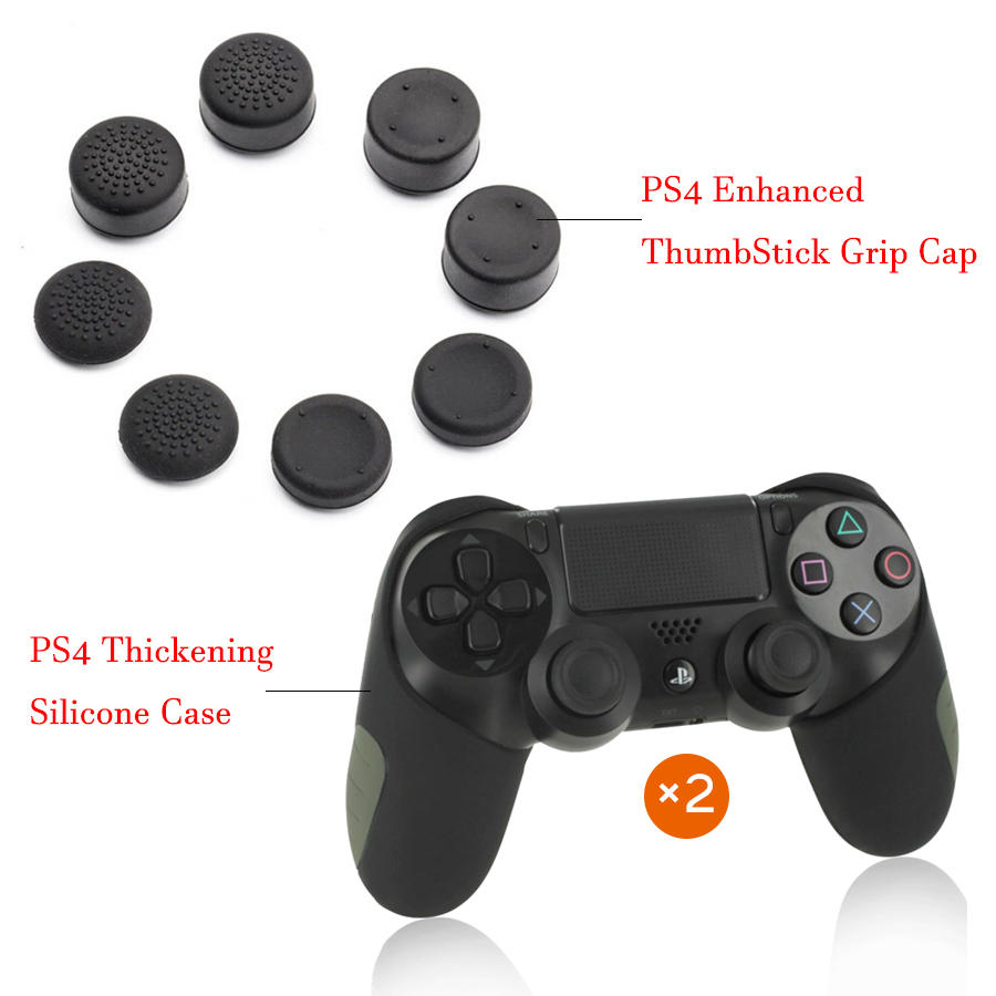 2 Pcs PS4 Thickening Soft Silicone Case & 8 pcs Enhanced Thumb Stick Grip Caps Kit for Playstation 4 PS4/Slim/Pro Controller