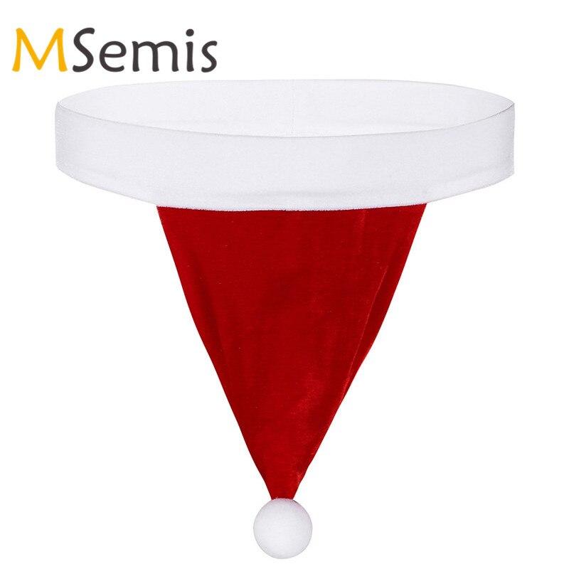 Buy MSemis Sexy Men Lingerie Pouch Panties Christmas Santa Hat Velvet Bikini G-string Mens Thong Open Butt Gay Underwear Men Panties