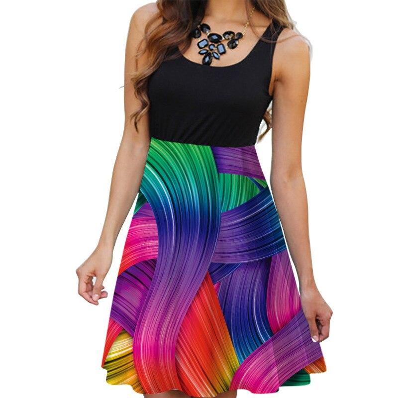 Image 3 - New 2019 Summer Dresses Women Print Beach Dress Casual Sleeveless O Neck Patchwork A Line Dress Boho Tank Sexy Dresses Vestidos-in Dresses from Women's Clothing