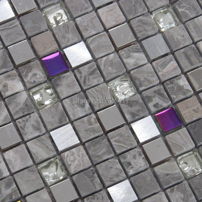 15mm square gray color <font><b>stone</b></font> mixed colorful glass metal mosaic tiles kitchen <font><b>backsplash</b></font> mosaic bathroom wall mosaic mesh backing